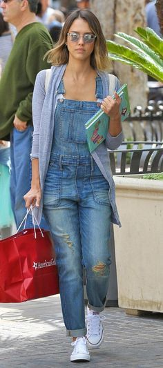 Overalls Overhaul from Jessica Alba's Street Style   Cardigan over overall, good idea