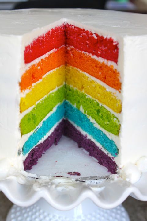 From the outside, it looks like a plain white cake. But once you slice into it, you'll be ready to taste the rainbow. Get the recipe from The Little Epicurean.