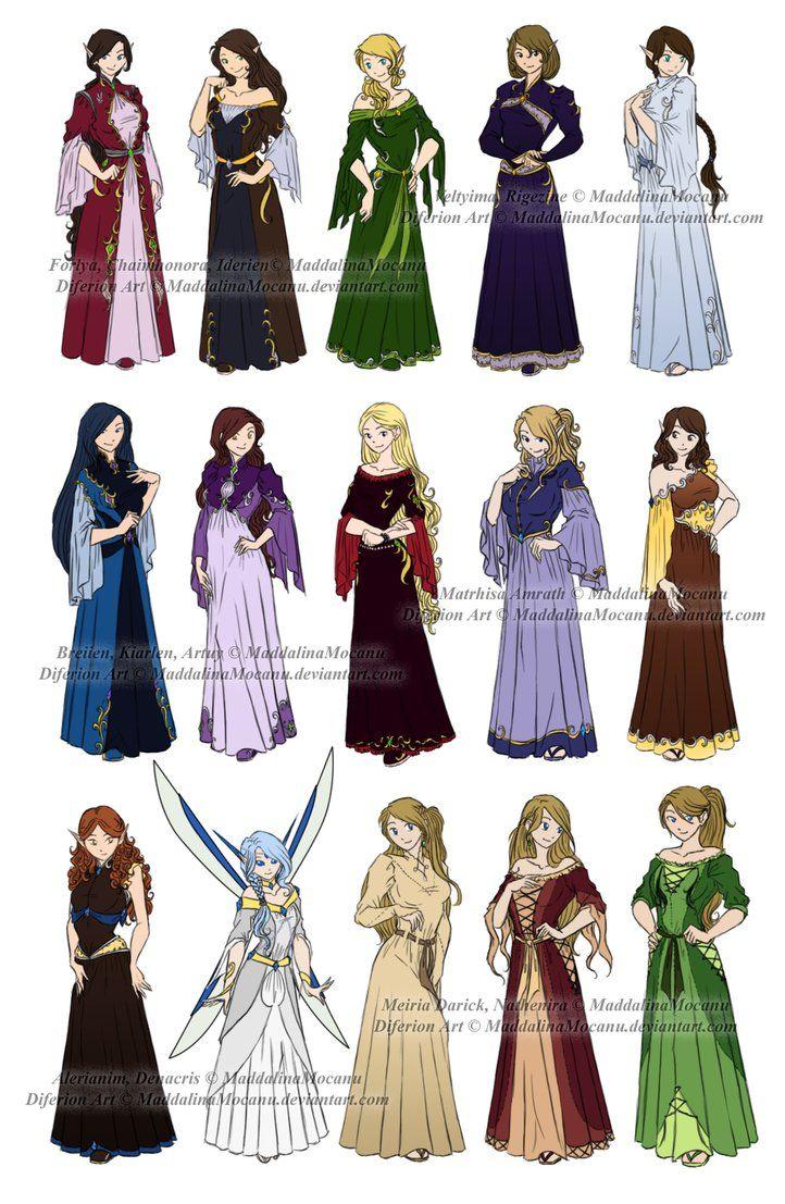 Dress n Clothes Designs: P3 - Different Kin Women by MaddalinaMocanu on DeviantArt