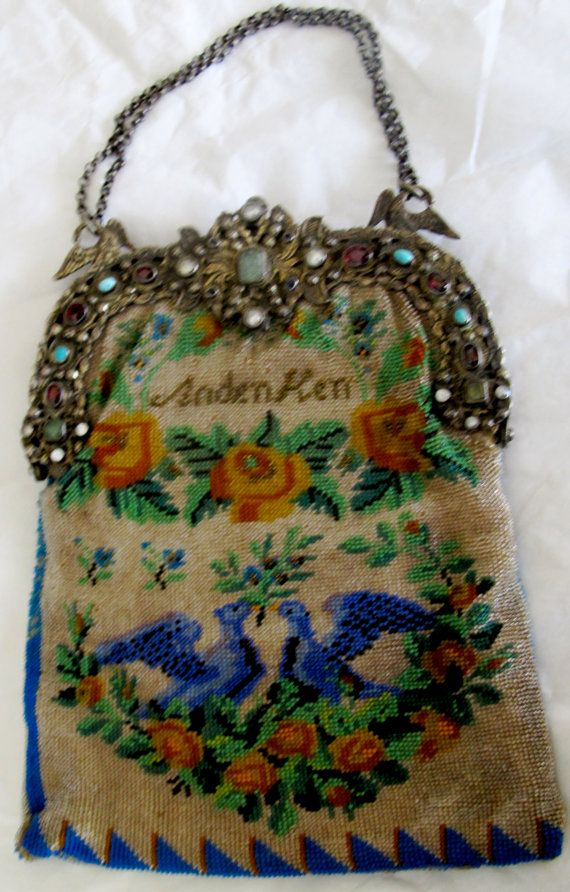 Antique micro beaded Victorian Evening Bag, unique Swan and Rose pattern, with hallmarked Sterling frame embedded with garnets, turquoise, pearl, mother of pearl, aquamarine, and sapphires, listed by ElectrikEclecticity via Etsy  $3,500