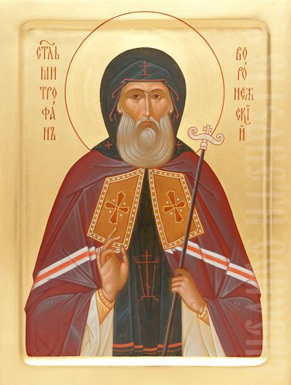 painted icon of st mitrophan of voronezh