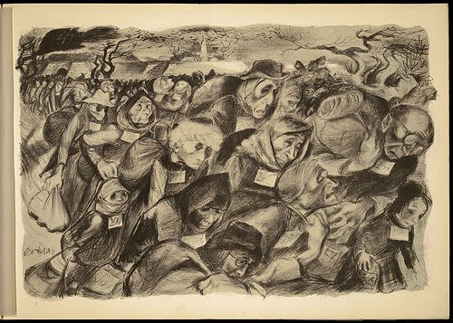 Lithograph by Leo Haas, Holocaust artist who survived Theresienstadt and Auschwitz