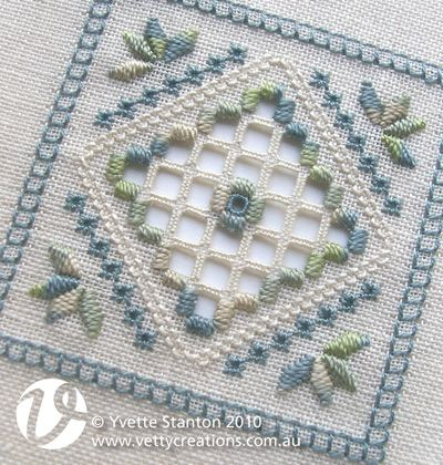 Learn the basics of Hardanger embroidery with this pretty blue and green Hardanger panel. When finished, the panel could be applied to a bag or a book cover, or made into a pincushion, biscornu, doily, sachet or needle book. Each of the stitches will be taught, so absolute beginners are completely catered for, though it will probably help if you have some counted stitching experience.