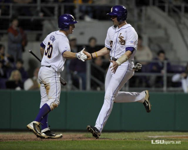 Baseball Matches Best Start in School History. Alex Bregman congratulates Ty Ross as he scores. LSU defeated No.7 Kentucky 11-1 in the first game of the 3-game series.