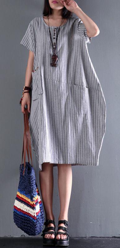 2017 new gray linen dress plus size sundress cotton summer dresses