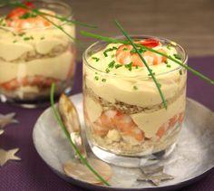 Recette Tiramisu aux crevettes roses (difficulté Facile) . Découvrez comment préparer votre Entrée sur EnvieDeBienManger.fr