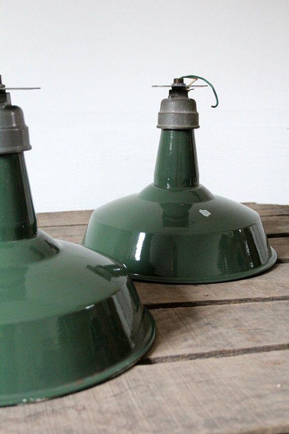 1930s Industrial Lighting / Vintage Enamel Warehouse by 86home