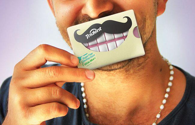 Три вкуса, шесть пачек, на каждой из которых изображены улыбающиеся рты с  мужественными усами...