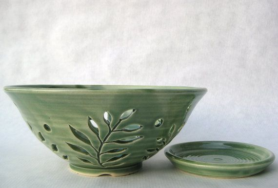 green fern pottery colander berry bowl by TagawaPottery on Etsy, $38.00