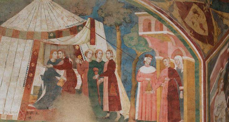 https://upload.wikimedia.org/wikipedia/commons/a/ad/Memmo_di_Filippuccio._Profane_love_scenes._Fresco%2C_detail%2C_before_restoration._San_Gimignano.2.jpeg Memmo di Filippuccio. Profane love scenes. Fresco, detail, before restoration. San Gimignano.