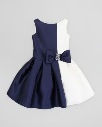 Zoe Vertical Colorblock Party Dress, Navy/Cream, Sizes 8-10 - Neiman Marcus