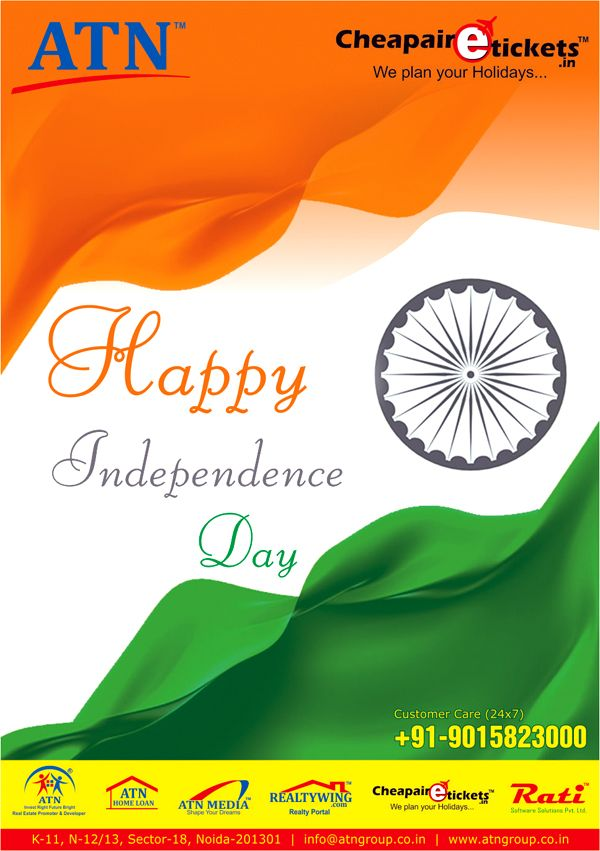 ATN Infratech wishes a very Happy Independence Day to India. Celebrate the freedom of 67 years booking dream homes with us.