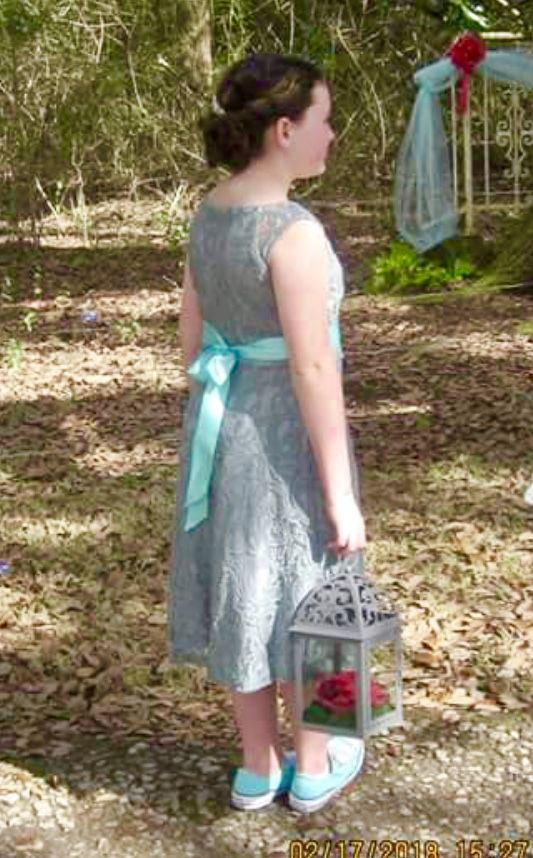 Grey and Tiffany blue flower girl dress