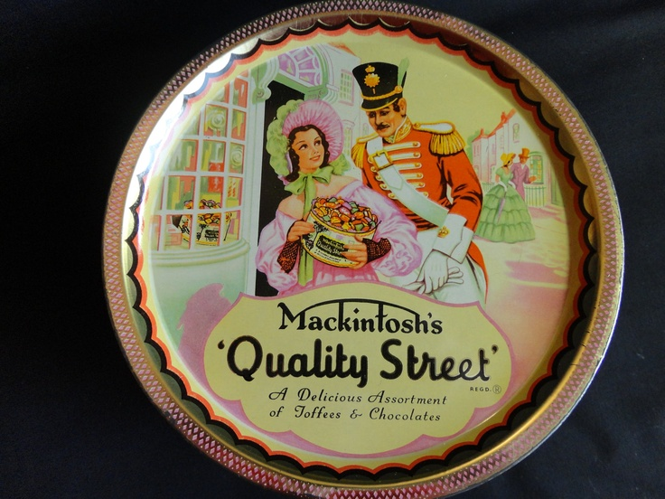 "VINTAGE Candy Tin 1950s ""Mackintosh's - Quality Street"" Toffees and Chocolates colorful all-over graphics ""Made In England"". $8.94, via Etsy."