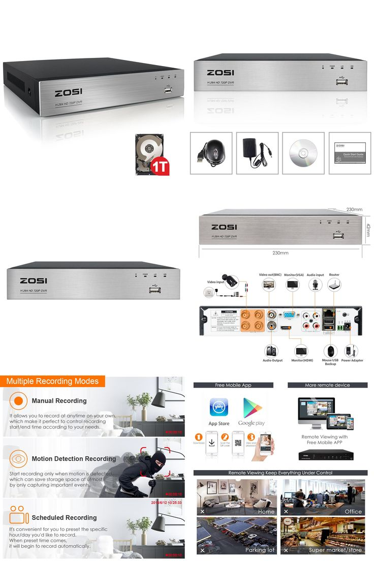 [Visit to Buy] ZOSI 4 Channel AHD-720P DVR,Security DVR Recorder with HDMI,Playback,Internet & Smartphone Remote Accessible,Alarm with 1TB HDD #Advertisement