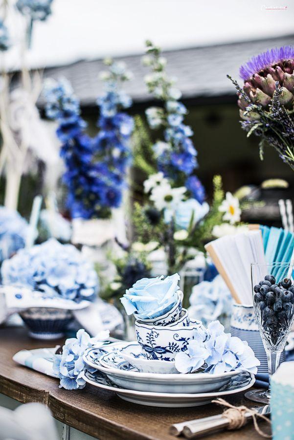 Tischdeko In Der Farbe Blau Flowers Pinterest Wedding White