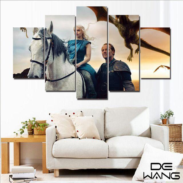5 Unidades de Arte de la Lona Pintura Moderna Pintura de Pared Juego De Tronos Imágenes Guerrero Enmarcado Panel De Impresión de Imagen Para la Decoración Casera