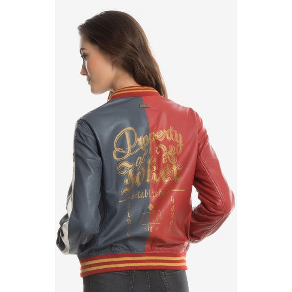 DC Comics Suicide Squad Harley Quinn Leather Jacket ($250) ❤ liked on Polyvore featuring outerwear, jackets, pattern jacket, leather jackets, bomber style leather jacket, patterned bomber jacket and real leather jackets