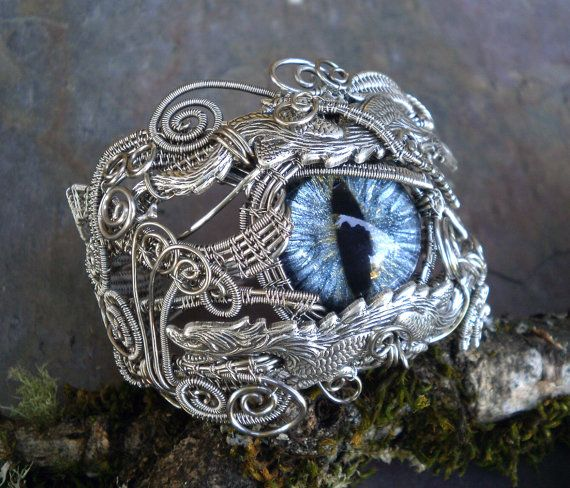 Gothic Steampunk Dragon Bracelet With Silver by twistedsisterarts, $249.95