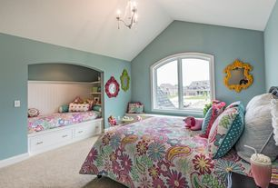 Transitional Kids Bedroom with Built-in bookshelf, Carpet, Pendant Light, Cathedral ceiling, Window seat