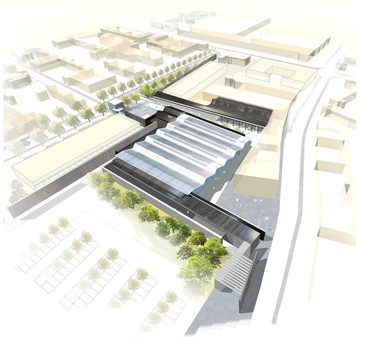 The aerial view of Museum.  #render #roof #oldfactory #competition #1stprize #Krakow #Lipowa4 #Zablocie #culture #fabryka