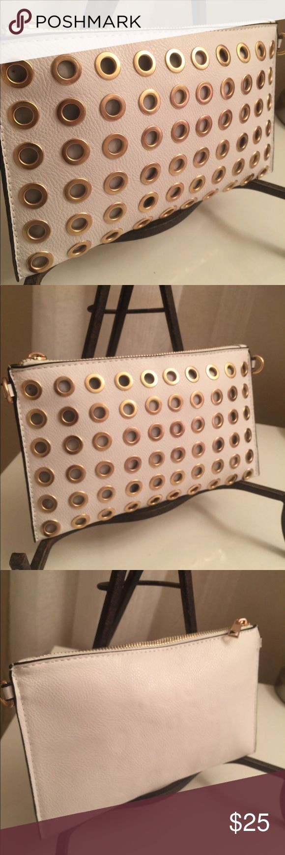 White & Gold Clutch Brand new! Comes with removable gold chain & matching wristlet strap Bags Clutches & Wristlets
