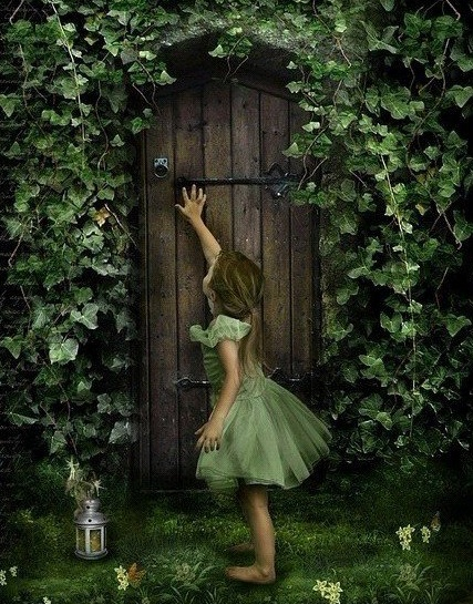 Finding her way into the secret garden.