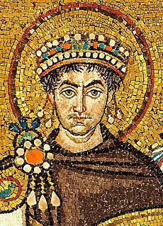 Justinian I (c. 482 – 14 November 565), traditionally known as Justinian the Great and also Saint Justinian in the Orthodox Church, was a Byzantine (East Roman) emperor from 527 to 565. During his reign, Justinian sought to revive the empire's greatness and reconquer the lost western half of the historical Roman Empire.