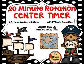 This 20 minute Pirate Theme automated timer may be used for any rotation groups in your classroom during Daily 5, guided reading groups, guided math groups and literacy centers. The timer file is made in PowerPoint and is automated. Just click on the ship and choose 2, 3, 4 or 5 centers!