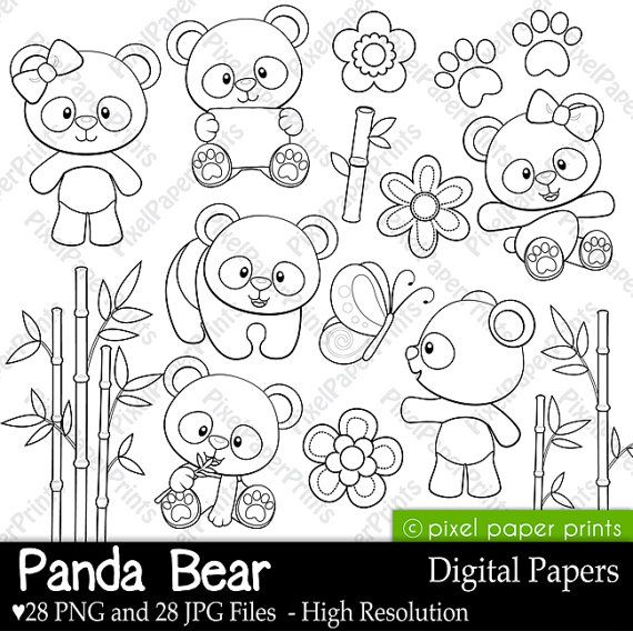 Panda Bear   Digital Stamps  Clipart por pixelpaperprints en Etsy