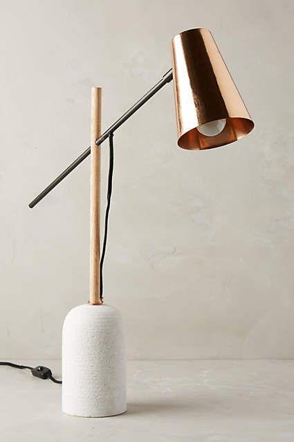 Slanted copper desk lamp