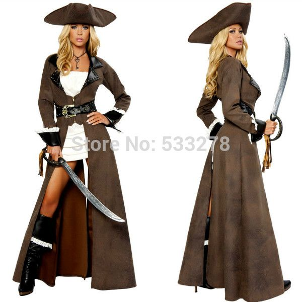 Women's Pirate Costume Deluxe Pirate 5pcs Captain Costume Brown Good Quality Halloween Party Uniform O28039