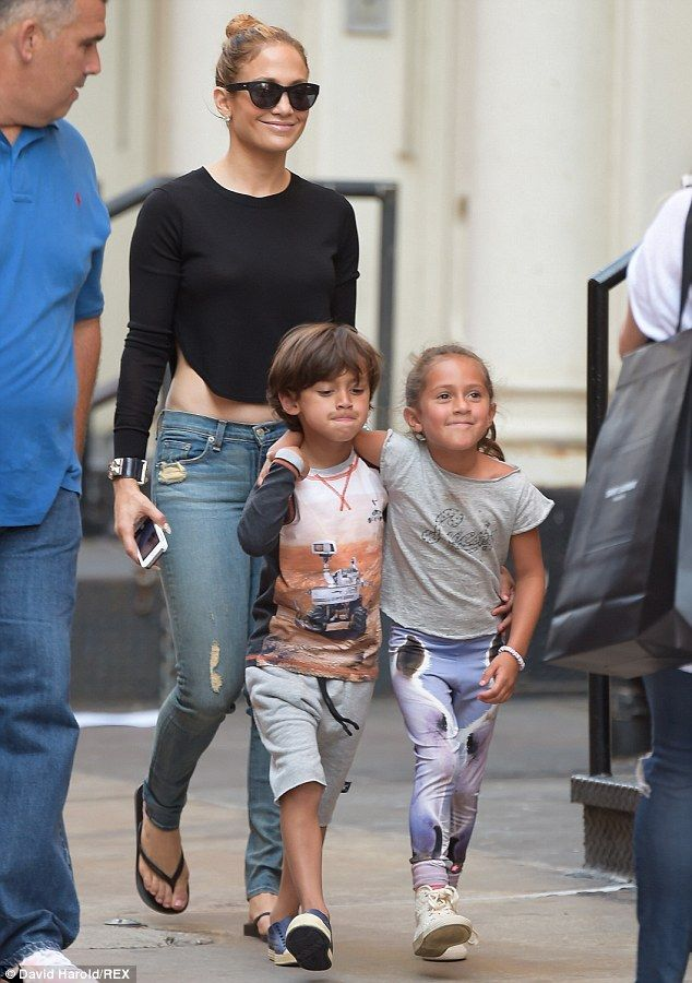 Proud mother: Jennifer, pictured with six-year-old twins Max and Emme back in June...