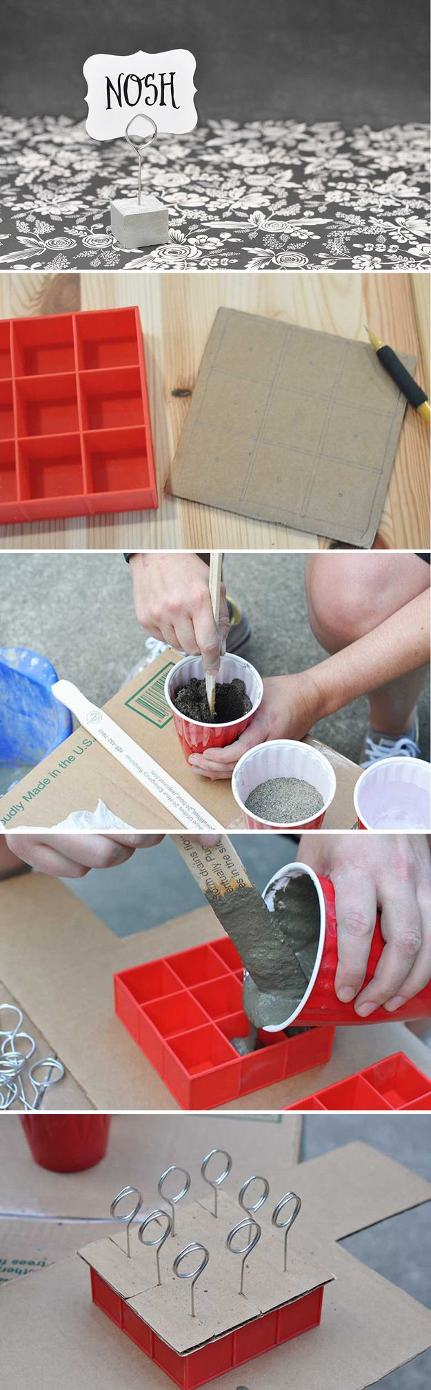 Cute Homemade Craft Projects with Ice Cube Trays   Cement and Wire Stands by DIY Ready at http://diyready.com/14-unexpected-ways-to-use-an-ice-cube-tray/