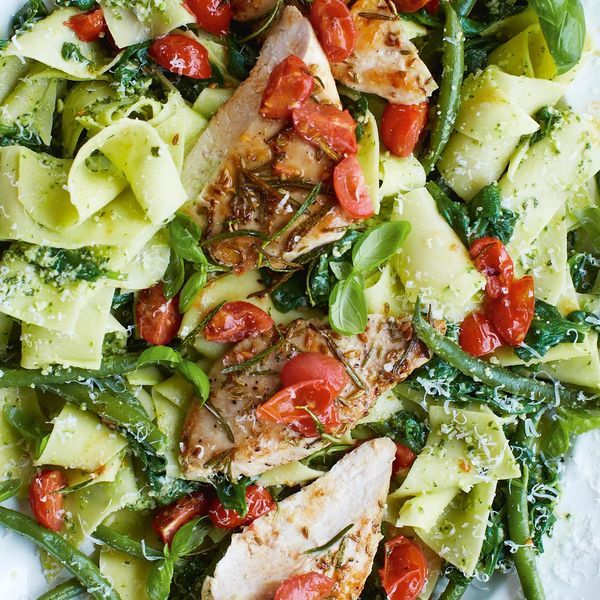 Say goodbye to drab midweek meals with this gorgeous Italian-inspired chicken, pesto and pasta dish from Jamie Oliver's 15-Minute Meals cookbook. On the table in next to no time, it is a nourishing quick dish packed with flavour.