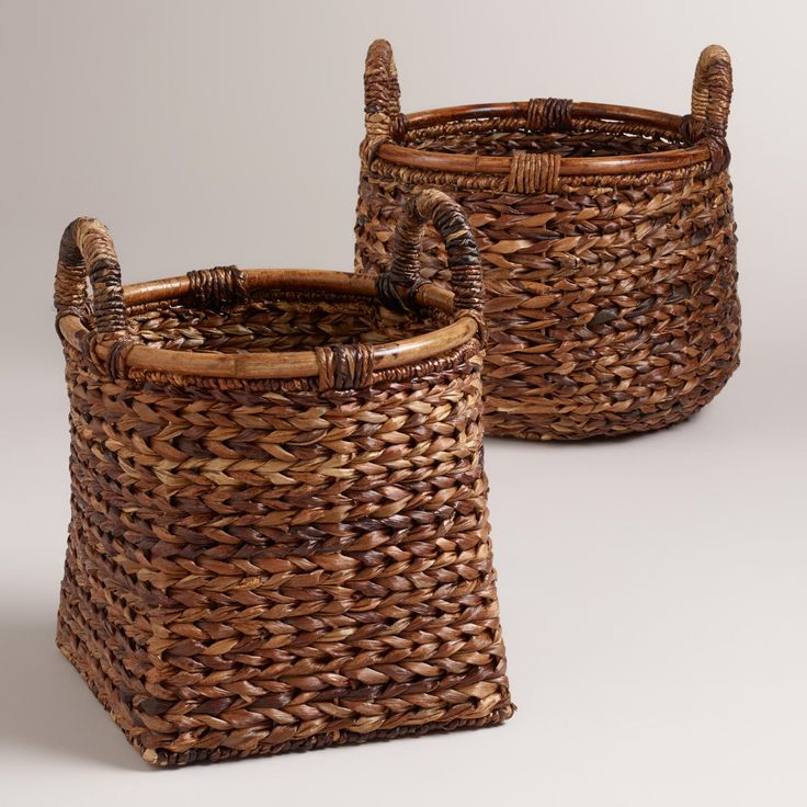 """Braided Rattan Brittany Baskets   World Market   17""""W x 13.5""""H   square or round   $35 or $40"""