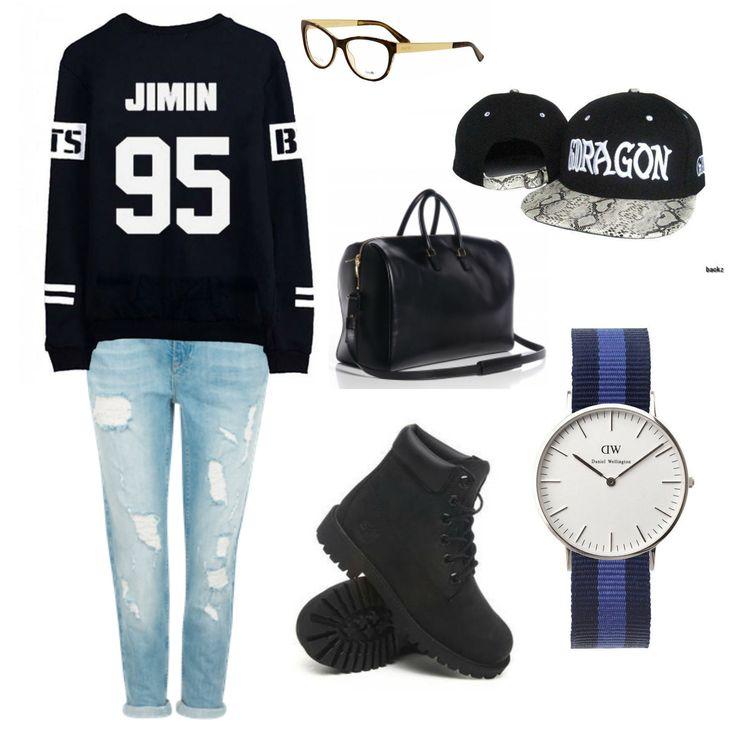 Kpop inspired outfit Jimin BTS sweater boyfriend jeans Gucci Eyeglasses Saint Laurent Duffle 24 ...