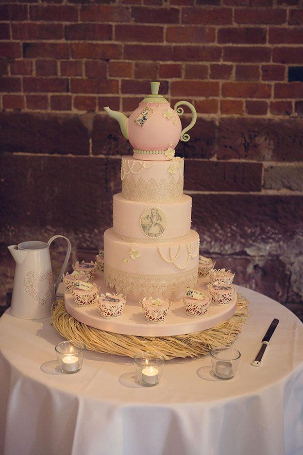 Melanie and Martin's Real life wedding at Curradine Barns - Teapot Wedding Cake | CHWV