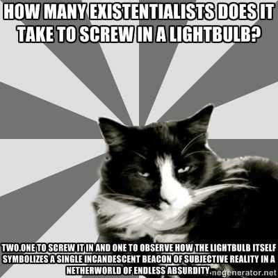 absurdism and existentialism in their novels english literature essay Philosophical influences in catch-22 come from the french existentialists jean- paul sartre and albert  before we move along in this discussion of the absurd  in literature and of  for heller, the novel itself is sartre's chestnut tree, camus'  boulder  for example: replace sisyphus with yossarian in camus' essay the.