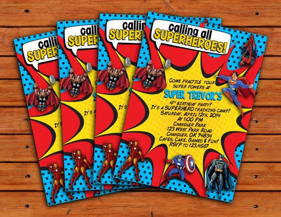 calling all superheroes themed invitation 5x7 by pdotprintables   12 00