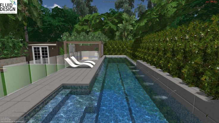 15m lap pool w/ wide entry steps, stone wall w/ water spouts, wrap around glass edge, sun lounge area & sunken lounge cabana