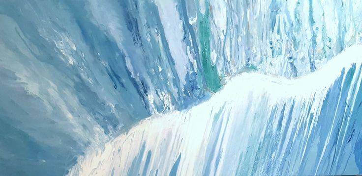 MELVILLE ART: Waterfall Painting on canvas. Original Fluid Abstract Art.
