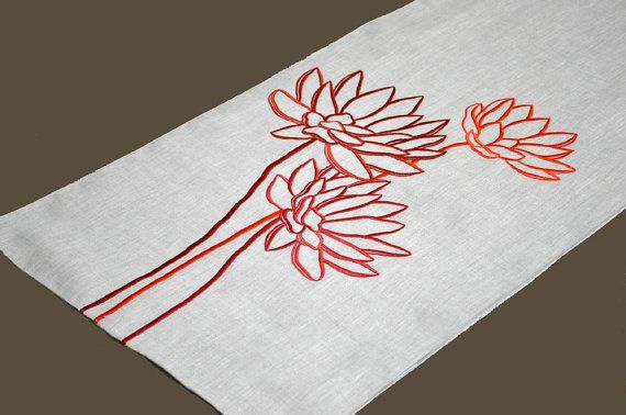 Lotus Table Runner Embroidered Table Runner 14' x 64 by KainKain, $41.00 - maybe this in green, or in the color palette since it looks like there's about 5 oranges in this.