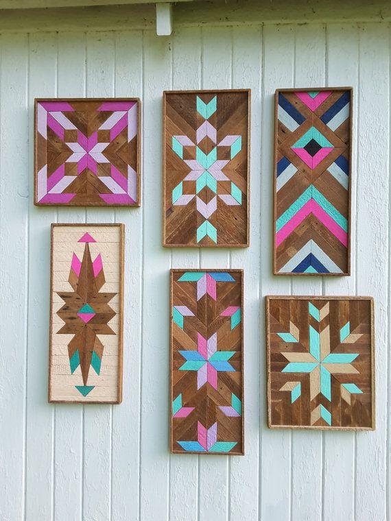 Reclaimed Wood Wall Art Wood Wall Decor Lath Art Diamonds, Half Star  Pattern Geometric Design By