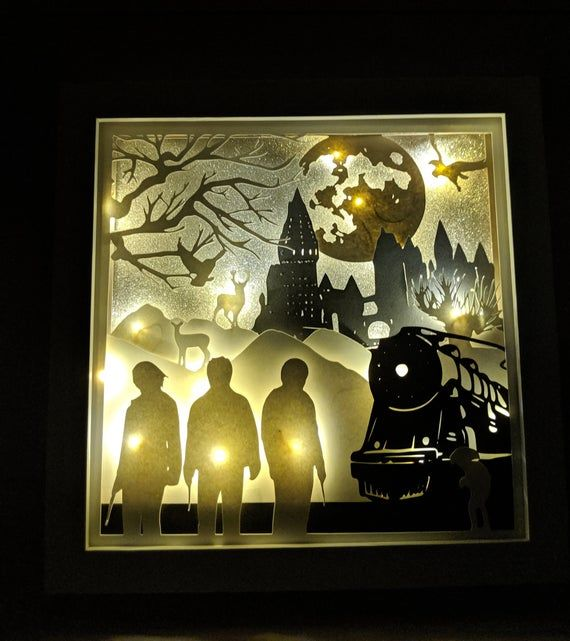 Christmas at Hogwarts 12x12 Lighted Silhouette Shadow Box Tempate