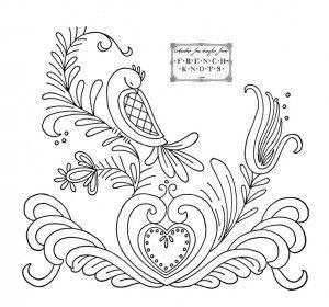 dutch heart and bird enbroidery