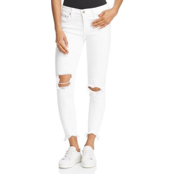 Pistola Audrey Distressed Skinny Jeans in White Water ($93) ❤ liked on Polyvore featuring jeans, white water, white jeans, white ripped jeans, distressed jeans, white cropped skinny jeans and white skinny jeans