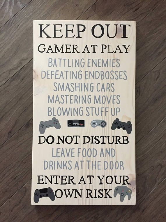 Man Cave Decor, Gamer Sign, Video Game Sign, Hand Painted Wood Sign, Vintage Gamer Room Decor, Man Cave, Do not Disturb, Gifts for Dad – – #GamerRoom|…