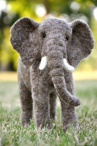 Needle felted elephant ~