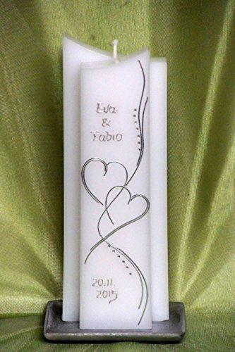♥♥ edle Hochzeitskerze ♥♥ mit Steinen - in Sonderform ; inkl. Beschriftung ! I-13
